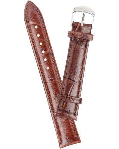 Bracelet de montre cuir aspect croco - marron       22 mm