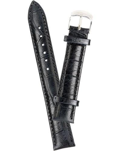 Bracelet de montre cuir aspect croco - noir            18 mm