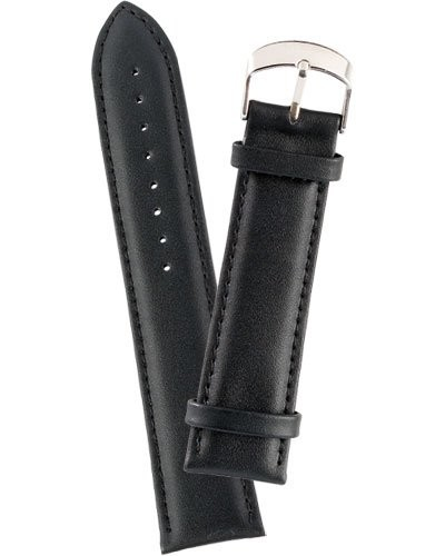 Bracelet de montre cuir lisse - noir                   22 mm