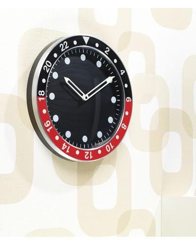 Achat vente horloge murale design rouge et noire moins for Horloge murale design rouge