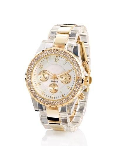 Montre à quartz look chrono – bracelet bicolore