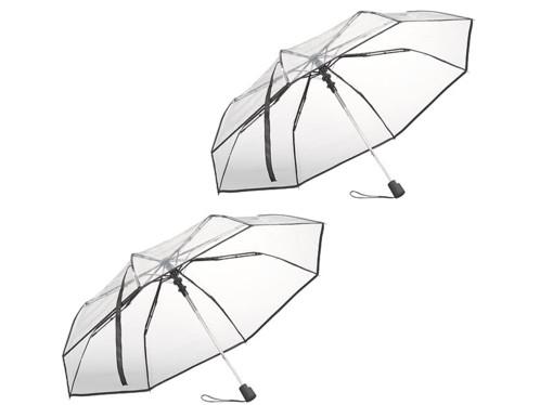 2 parapluies automatiques Ø 100cm avec armature en fibre de verre - Transparent