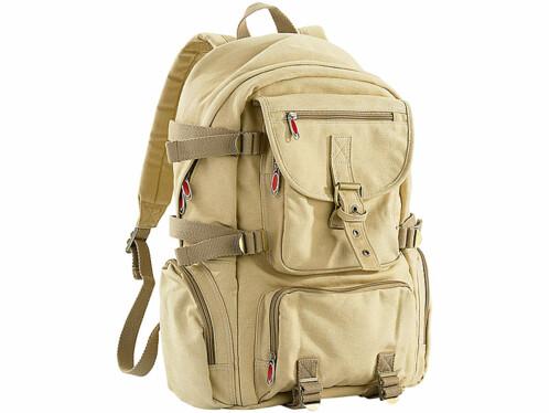 Sac à dos en canevas beige avec compartiment PC portable - 11,5 L
