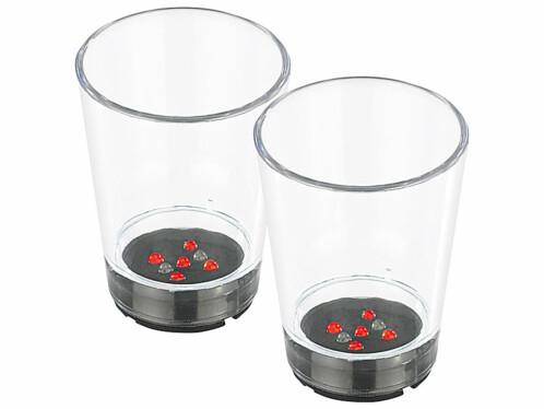 2 verres avec LED en forme de Dé