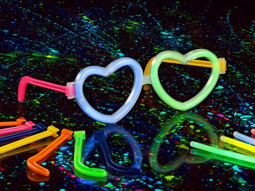 5 Montures de lunettes en forme de coeur pour tubes lumineux