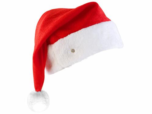 Bonnet de Père Noël à LED avec pompon lumineux blanc
