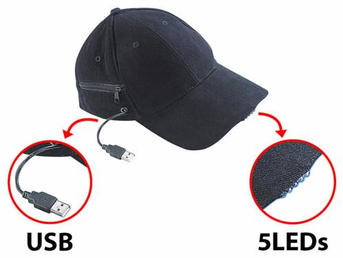 Casquette noir en coton avec éclairage LED rechargeable par USB par Infactory