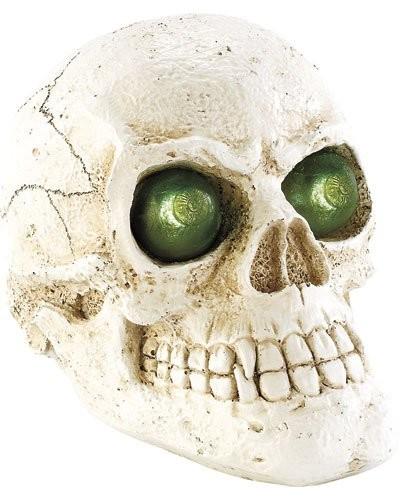 Crâne lumineux solaire pour le jardin  - lumière verte