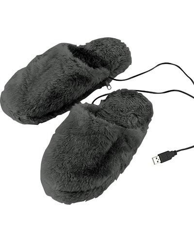 Pantoufles chauffantes USB molletonnées - tailles 36 à 39