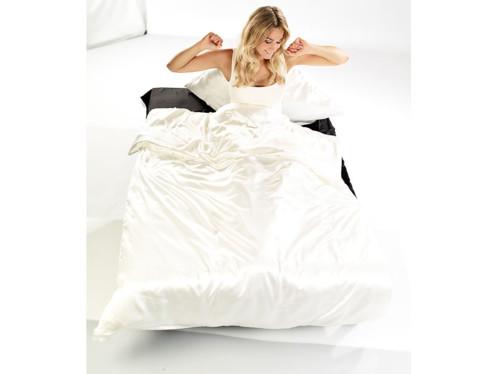 Parure de lit en satin 100 % soie 135 X 200 cm - blanc perle