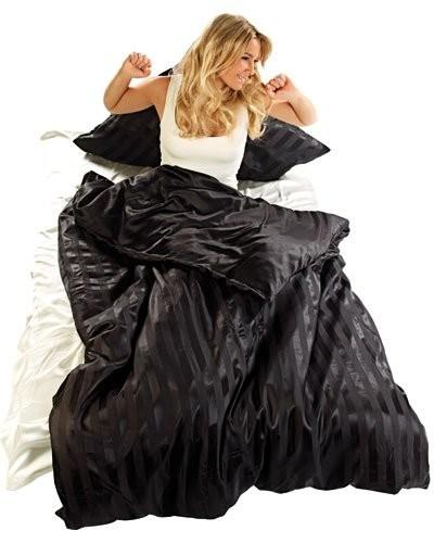 Parure de lit en satin 100 % soie - pour lit simple - noire