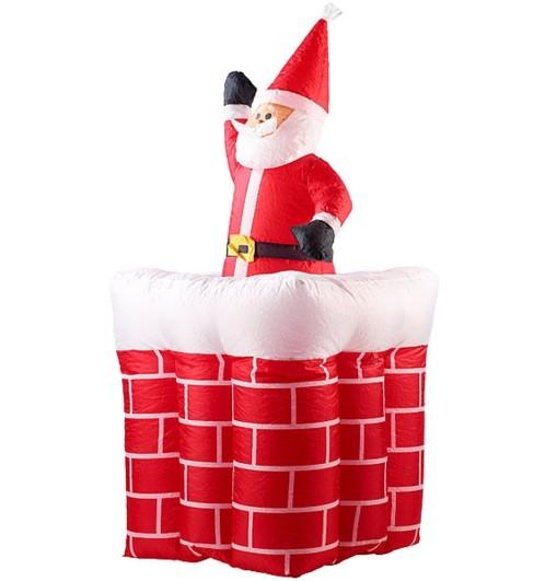 Père Noël gonflable avec cheminée, 180 cm