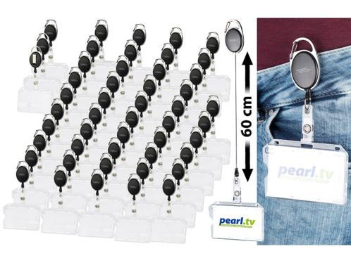50 porte-badges avec clip de fixation et enrouleur