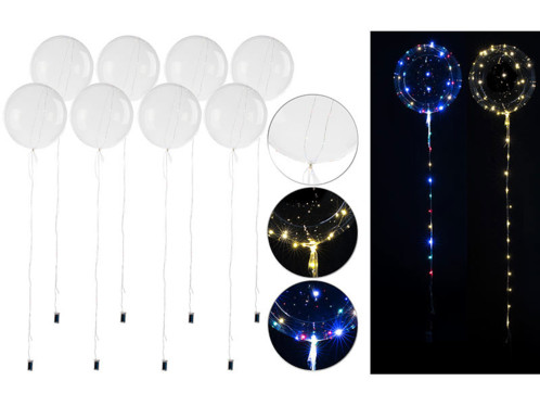 8ballons transparents Ø 30 cm avec guirlande lumineuse