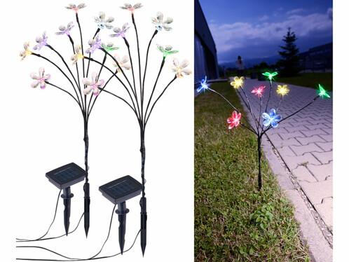 2 bouquets lumineux solaires avec 8 fleurs multicolores