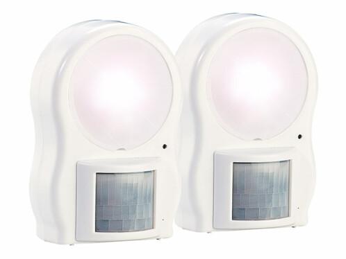 Deux lampes murales à LED avec détecteur de mouvement, par Lunartec