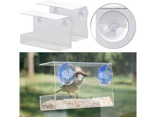 2 mangeoires à oiseaux avec fixation par ventouses