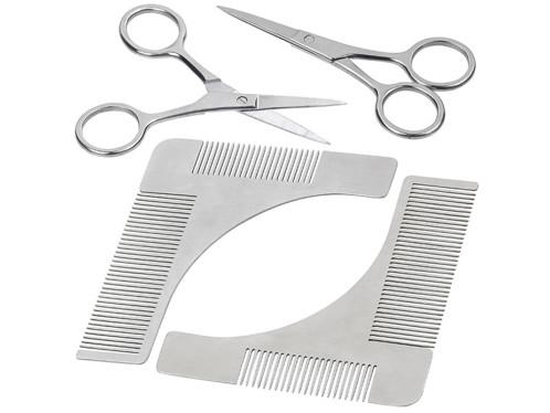 Lot de 2 peignes à barbe et traceur de contours avec ciseaux.