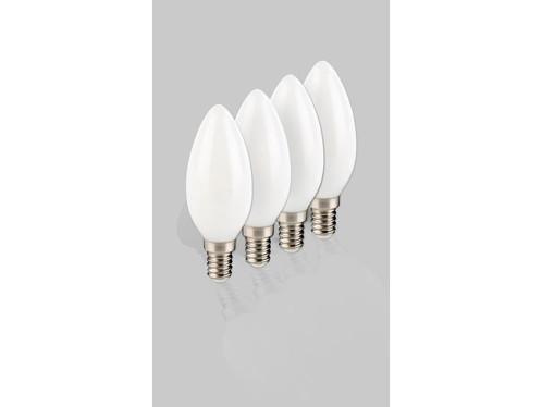 4 ampoules bougie à LED SMD - E14 - 3W - blanc chaud