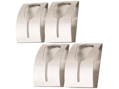 Lot de 4 porte-serviettes en acier inoxydable Carlo Milano.