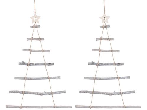 2 échelles décoratives en bois en forme de sapin de Noël