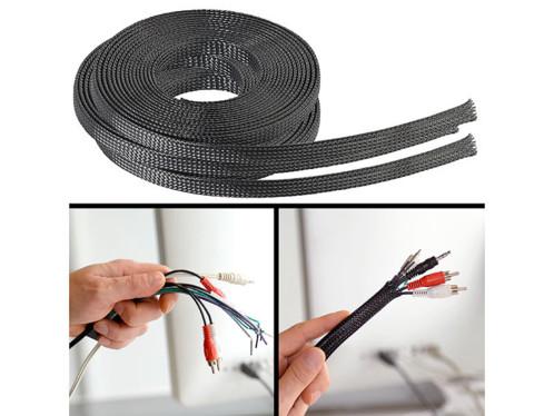3 gaines tressées auto-fermantes pour câbles informatiques - 5 m