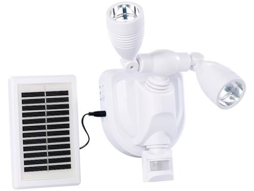 Projecteur extérieur LED solaire 3 W - Double tête - blanc