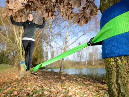 Achat slackline avec protection pour tronc d 39 arbre - Achat tronc arbre decoratif ...