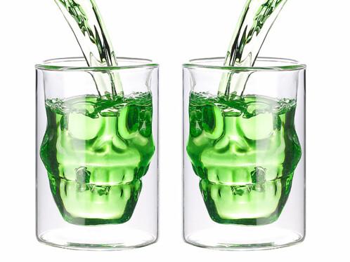2 verres à double paroi ''Tête de Mort'' - 40 cl