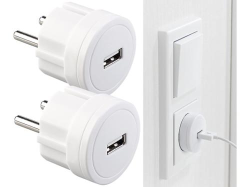 2 adaptateurs secteur USB ultra-compacts, 2,1A/ 10,5W/ Ø 39mm