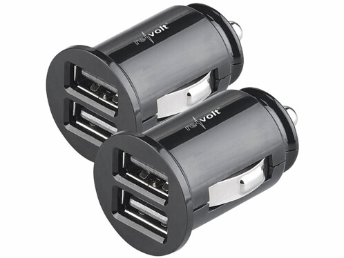2 chargeurs allume-cigare 12 / 24 V avec 2 ports USB