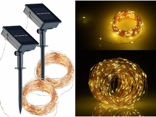 2 guirlandes lumineuses solaires 20 m en fils de cuivre à 200 LED