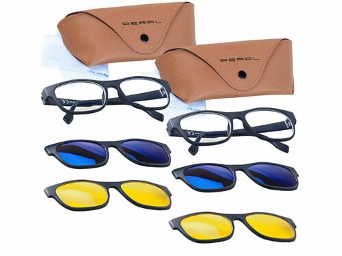 2 lunettes anti lumière bleue avec 2 sur-lunettes magnétiques et 2 protections