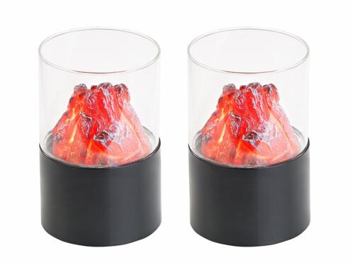 2 mini foyers décoratifs sans fil avec verre transparent