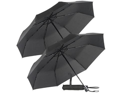 2 parapluies automatiques Ø 100cm avec armature en fibre de verre - Noir