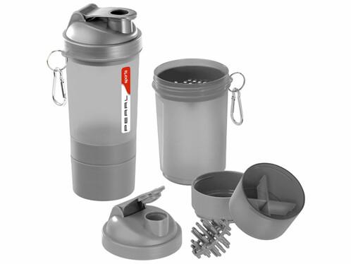 2 shakers pour le fitness 500 ml avec balle mélangeuse et compartiment à poudre