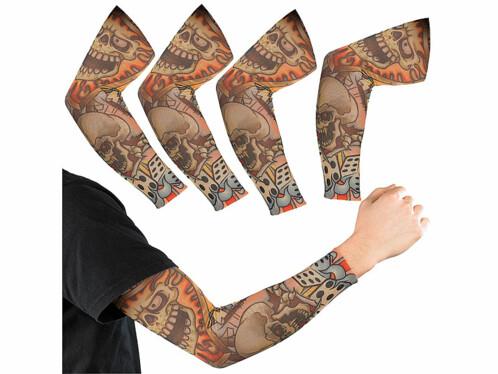 "4 manchettes au look tatouages motif ""Skull"""