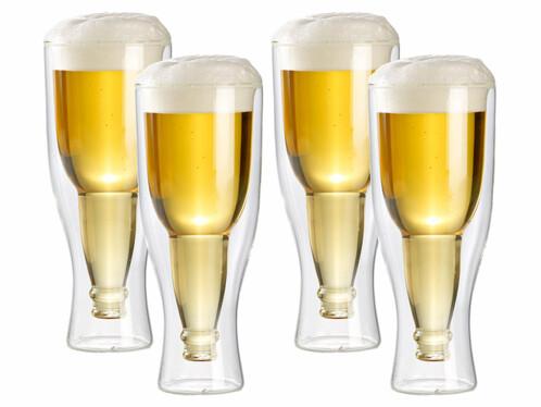 Lot de 4 verres à bière à double paroi de 33 cl.
