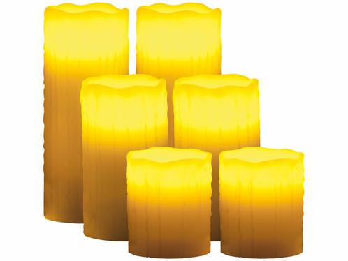 6 bougies à LED en cire avec télécommande