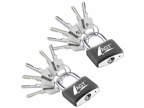 2 cadenas à clé - en laiton, acier et aluminium - 43 mm