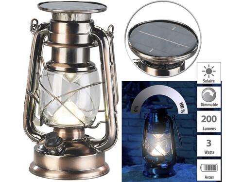 Lampe-tempête LED solaire à intensité variable 200lm/ 3 W/ 3000 K - Bronze