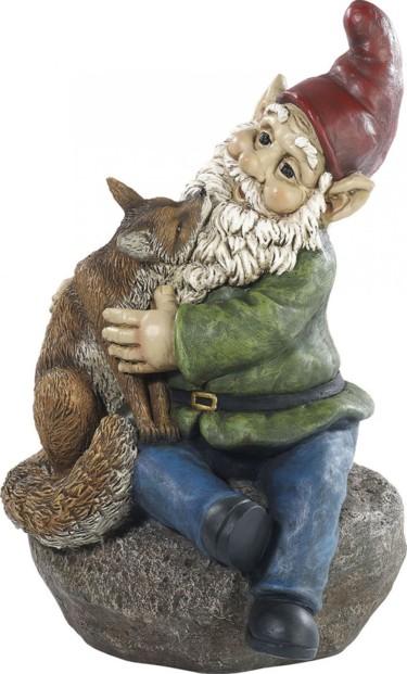 Nain de jardin ''Olli avec son renard''