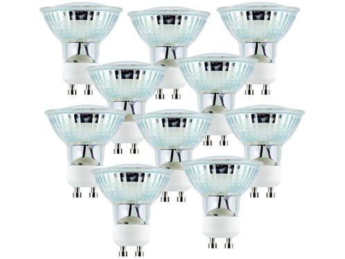 10 ampoules 60 LED SMD à intensité réglable GU10 blanc chaud