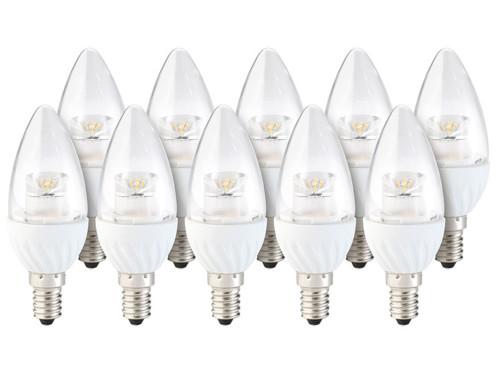 10 ampoules LED ovales 4 W - E14 - Blanc chaud