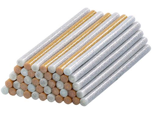 50bâtonnets de colle Ø11mm pour pistolet à colle - or et argent à pailettes