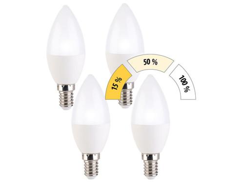 4 ampoules bougie à LED E14 / 5 W / 470 lm à 3 niveaux d'intensité - Blanc Jour