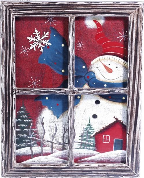 Cadre décoratif en bois trompe-l'œil ''Fenêtre'' - Bonhomme de neige