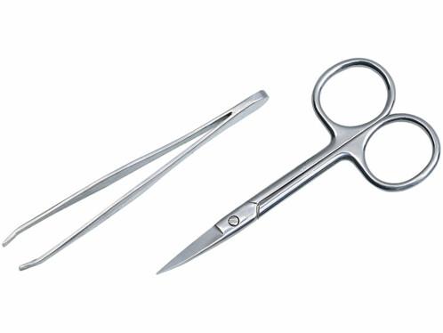pack de 2 outils a modelisme pince a epiler et ciseau de précision