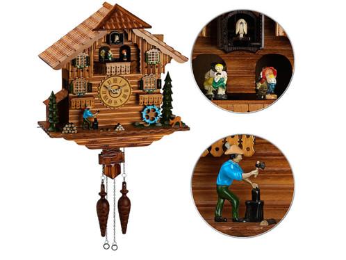 veritable coucou suisse en bois avec personnages animés style foret noire
