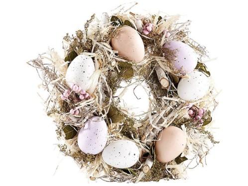 Couronne de Pâques décorative avec oeufs couleurs pastel, Ø 23cm